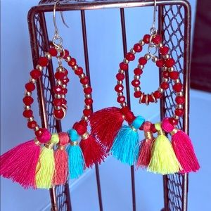 Red bead with multi color tassels earrings